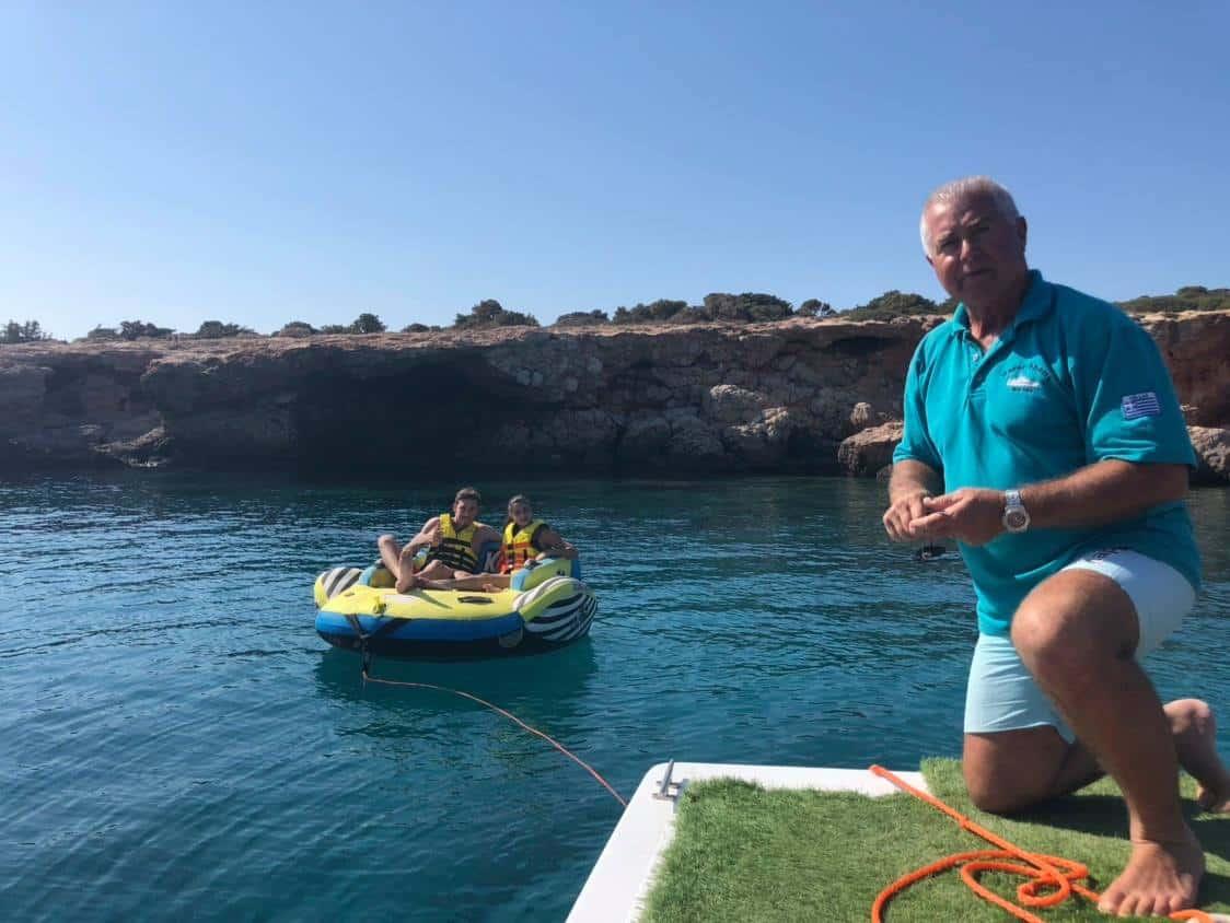 Our Captain Vasilis Gounaridis on board